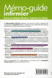 Sciences et techniques infirmières ; fondements et méthodes ; UE 3.1 à 3.5; mémo-guide infirmier - 4ème de couverture - Format classique