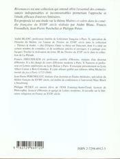 Etude Sur Maitres Et Valets Dans La Comedie Francaise Du Xviiie Siecle Epr.Francais Premieres L/Es/S - 4ème de couverture - Format classique
