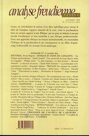 Analyse Freudienne No 11 - 4ème de couverture - Format classique