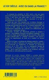 Le Xxi Siecle : Avec Ou Sans La France ? - 4ème de couverture - Format classique