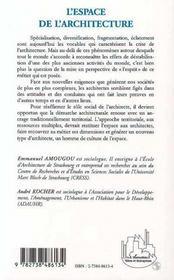 L'Espace De L'Architecture - 4ème de couverture - Format classique