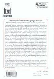 Pratiquer La Formation Reciproque A L'Ecole - 4ème de couverture - Format classique