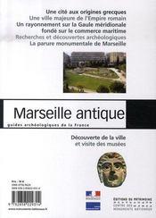 Marseille antique - 4ème de couverture - Format classique