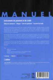 Instruments de paiement et de crédit ; effets de commerce ; chèque ; carte de paiement ; transfert de fonds (8e édition) - 4ème de couverture - Format classique