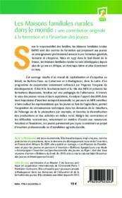 Les maisons familiales rurales dans le monde : une contribution originale à la formation et à l'insertion des jeunes - Couverture - Format classique