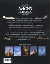 Atlas des avions de legende - 4ème de couverture - Format classique