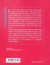 Histoire De La Litterature Des Etats-Unis - 4ème de couverture - Format classique