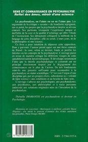 Sens Et Connaissance En Psychanalyse : Reflet Des Ames, Miroir D'Une Science - 4ème de couverture - Format classique