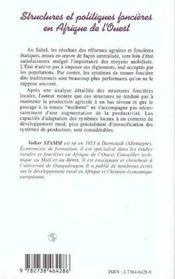 Structures Et Politiques Foncieres En Afrique De L'Ouest - 4ème de couverture - Format classique