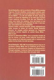 Henri Miller, Essai Indiscret - 4ème de couverture - Format classique
