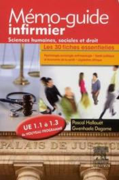 Sciences humaines, sociales et droit ; UE 1.1 à 1.3 ; mémo-guide infirmier - Couverture - Format classique