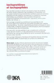 Lactoprotéines et lactopeptides ; propriétés biologiques - 4ème de couverture - Format classique