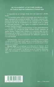 Du Placement A L'Accueil Familial ; De L'Enfant Objet Des Institutions A L'Enfant Sujet - 4ème de couverture - Format classique