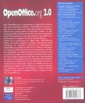 Open office.org version 2.0 - 4ème de couverture - Format classique