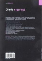 Chimie organique - 4ème de couverture - Format classique