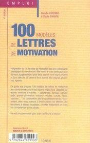 100 modèles de lettres de motivation (5e édition) - 4ème de couverture - Format classique