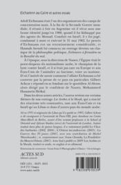 Eichmann au Caire - 4ème de couverture - Format classique