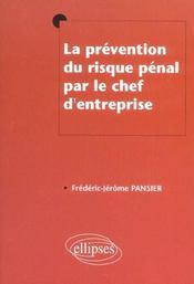 La Prevention Du Risque Penal Par Le Chef D'Entreprise - Intérieur - Format classique