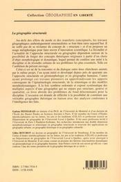 Geographie Structurale - 4ème de couverture - Format classique