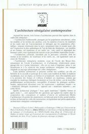 L'Architecture Senegalaise Contemporaine - 4ème de couverture - Format classique