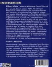 L'observatoire, l'affaire qui faillit emporter François Mitterand - 4ème de couverture - Format classique
