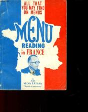 Menu Reading In France - Couverture - Format classique