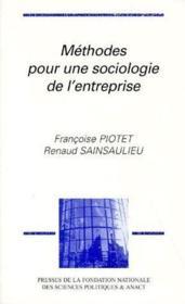Méthodes pour une sociologie de l'entreprise - Couverture - Format classique