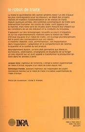 Le robot de traite ; aspects techniques et économiques - 4ème de couverture - Format classique