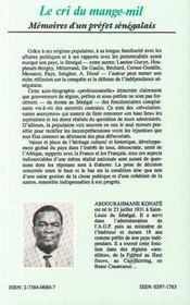 Le cri du mange-mil ; mémoires d'un préfet sénégalais - 4ème de couverture - Format classique