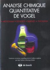 Analyse Chimique Quantitative De Vogel - Intérieur - Format classique