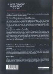 Analyse Chimique Quantitative De Vogel - 4ème de couverture - Format classique