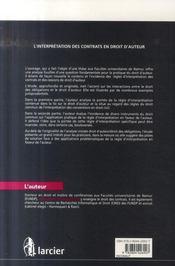 Interpretation Des Contrats En Droit D'Auteur - 4ème de couverture - Format classique