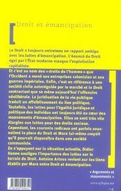 Droit Et Emancipation - 4ème de couverture - Format classique