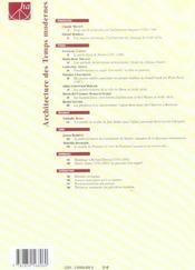 Histoire De L'Art N.54 ; Architecture Des Temps Modernes - 4ème de couverture - Format classique