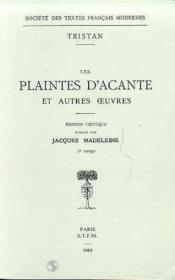 Les Plaintes D'Acante Et Autres Oeuvres - Couverture - Format classique
