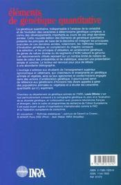 Elements De Genetique Quantitative. 2e Edition Revue Et Augmentee - 4ème de couverture - Format classique