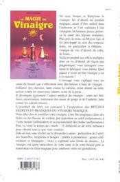 Magie Du Vinaigre - Sante. Magie. Beaute - 4ème de couverture - Format classique