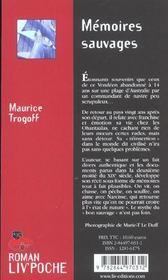 Memoires sauvages - 4ème de couverture - Format classique