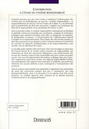 Contribution à l'étude du système responsabilité ; les potentialités du droit des assurances - 4ème de couverture - Format classique