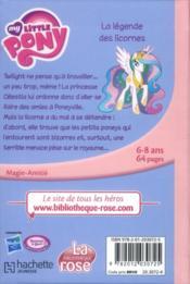 My little pony t.1 ; la légende des licornes - 4ème de couverture - Format classique