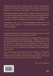 Hindustani raga-s index ; major bibliographical references (descriptions, compositions, vistara-s) on North Indian raga-s - 4ème de couverture - Format classique
