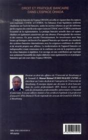 Droit et pratique bancaire dans l'espace OHADA - 4ème de couverture - Format classique