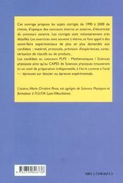 10 Ans De Concours Plp2 Physique Chimie Annales Corrigees 1990-2000 Electricite Optique Chimie - 4ème de couverture - Format classique