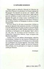 L'Affaire Soisson ; Le Rose Et Le Noir - 4ème de couverture - Format classique