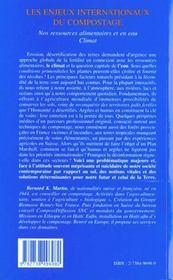 Les Enjeux Internationaux Du Compostage. Nos Ressources Alimentaires Et En Eau Climat - 4ème de couverture - Format classique