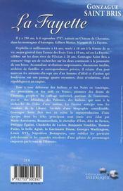 La Fayette - 4ème de couverture - Format classique