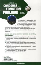 Le guide des concours de la fonction publique (édition 2007-2008) - 4ème de couverture - Format classique