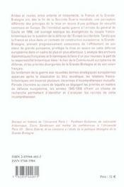 L'Impossible Alliance ? France, Grande-Bretagne Et Defense De L'Europe, 1945-1958 - 4ème de couverture - Format classique