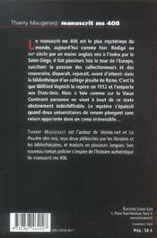 Manuscrit Ms408 Voynich - 4ème de couverture - Format classique