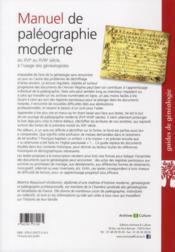 Manuel De Paleographie Moderne Du Xvi Au Xviii Siecle A L Usage Des Genealogis - 4ème de couverture - Format classique